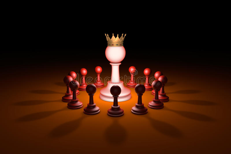 The new leader (chess metaphor). 3D rendering illustration. Standing Out from the Crowd. Available in high-resolution and several sizes to fit the needs of your vector illustration