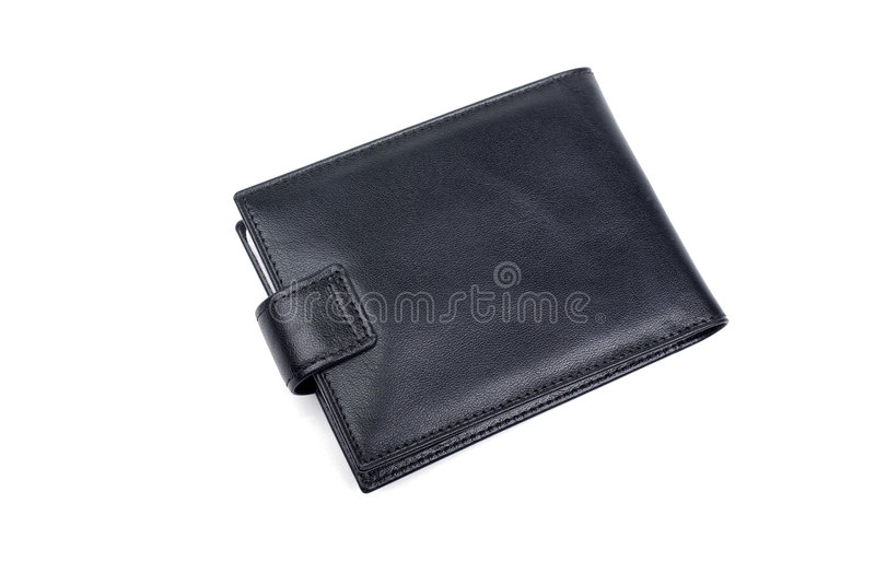 Black leather wallet purse isolated on white background money credit card closed man luxury object gift mens fashion full empty stock image