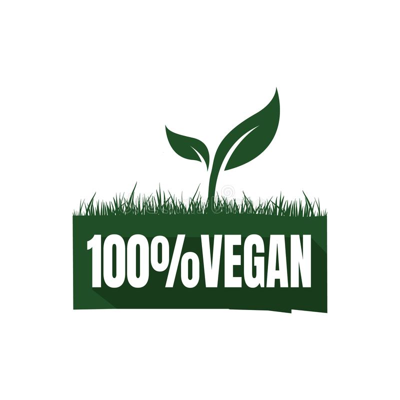 new lettering 100% percent vegan logo sign mark green vegetarian symbol vector icon element vector illustration