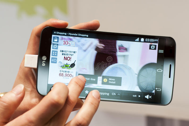 Download NEW LG FLEX, MOBILE WORLD CONGRESS 2014 Editorial Stock Photo - Image: 38250418