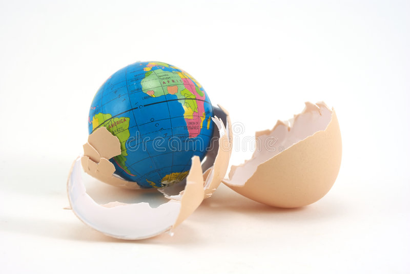 New life. The globe hatching from egg. Conceptual photo. Close up royalty free stock photography
