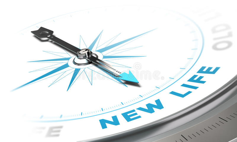 New Life. Background concept. Compass needle pointing a blue word, decorative image suitable for left bottom angle of a page royalty free illustration