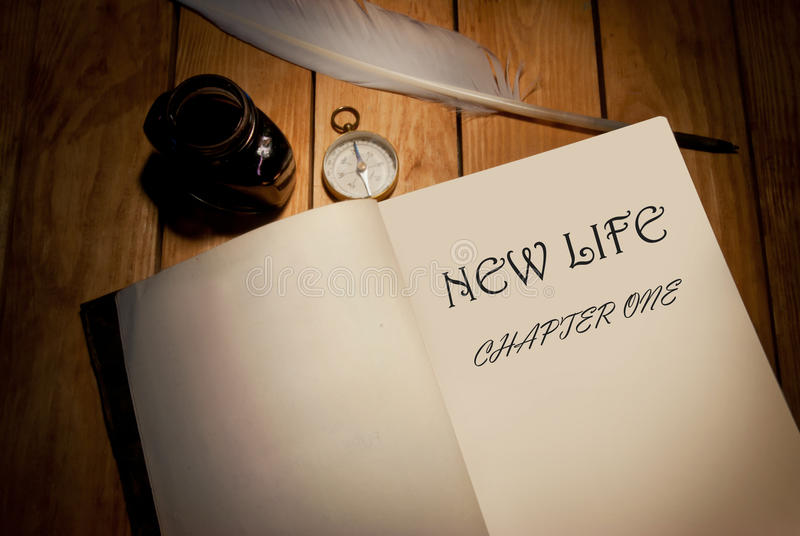 New life. Chapter one handwritten book title royalty free stock images