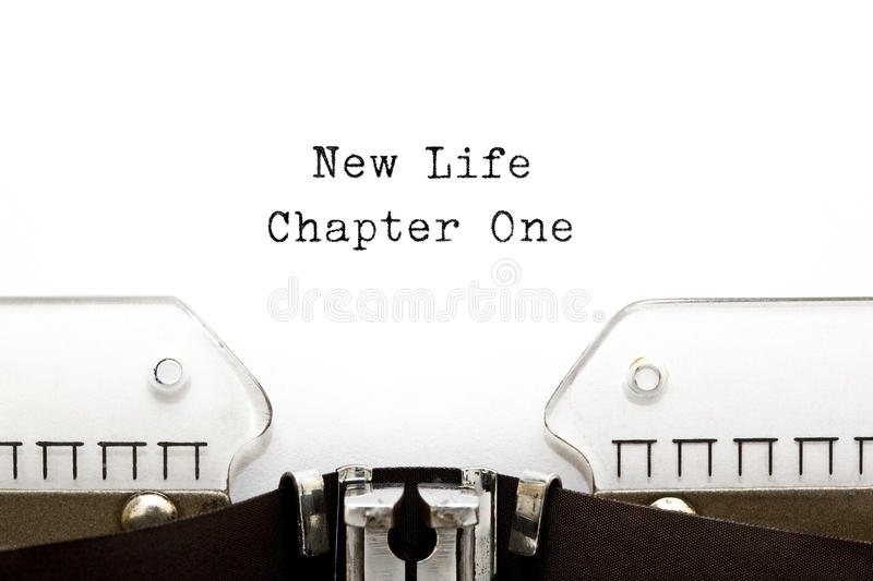 New Life Chapter One Typewriter royalty free stock photography
