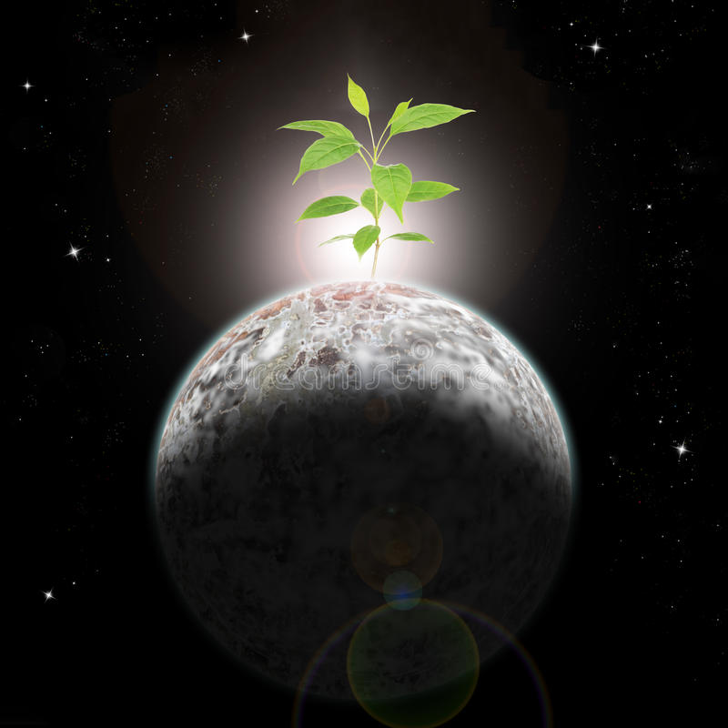 New life coming out from a dead planet. New Ecologic era rising with flare-Elements of this image furnished by NASA stock illustration