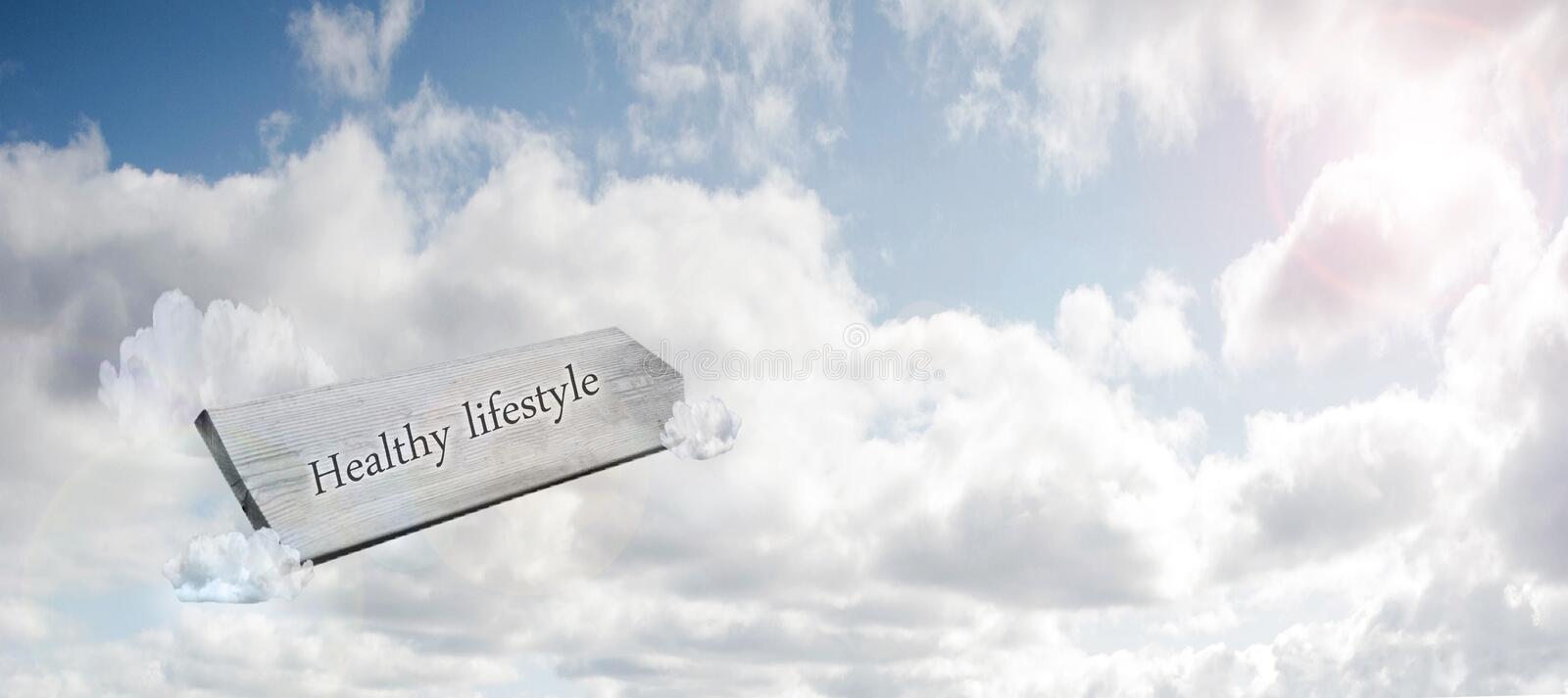 New life concept for fresh start, new year resolution, dieting and healthy lifestyle, wooden sign in the blue sky stock photo