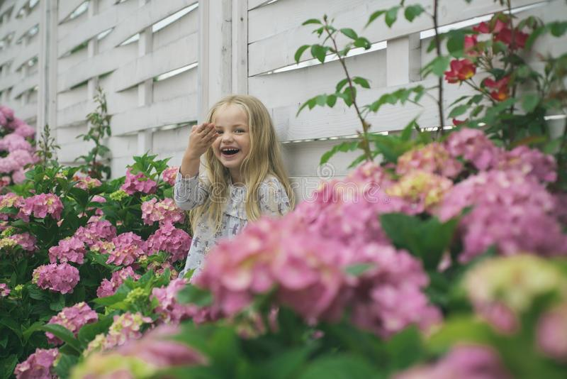 New life concept. Spring holiday. Childrens day. Small baby girl. Little girl at blooming flower. Summer. Mothers or royalty free stock image