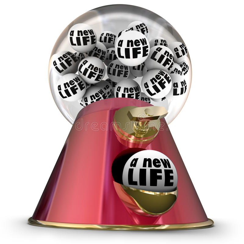 A New Life Gumball Machine Start Over Begin Again Fresh Opportunity. A New Life word on gum balls in a machine or dispenser to illustrate starting over or royalty free illustration