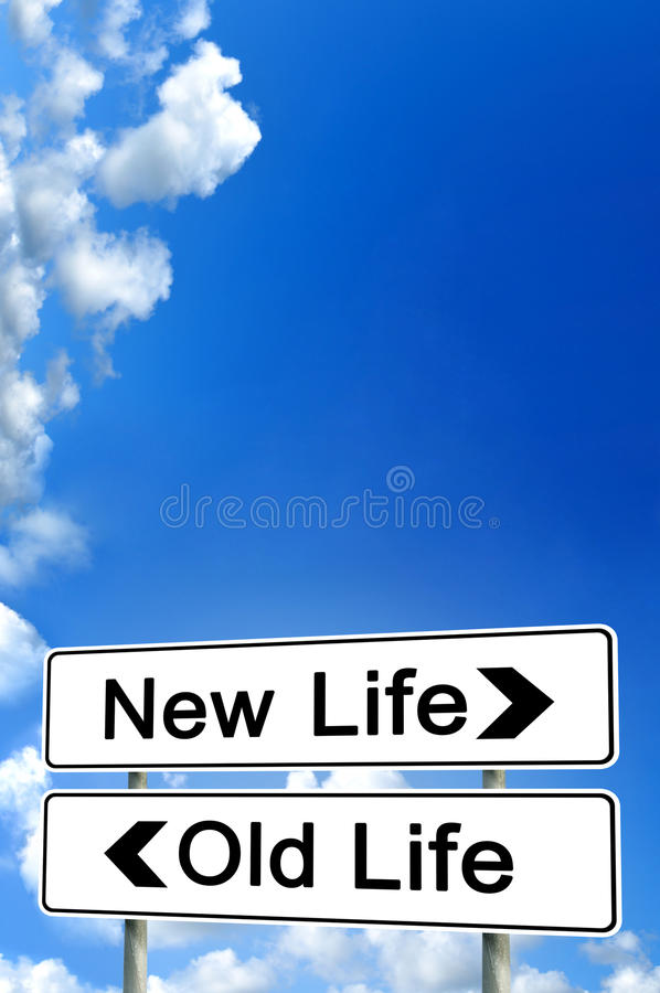 New life or old life. Sign royalty free stock image