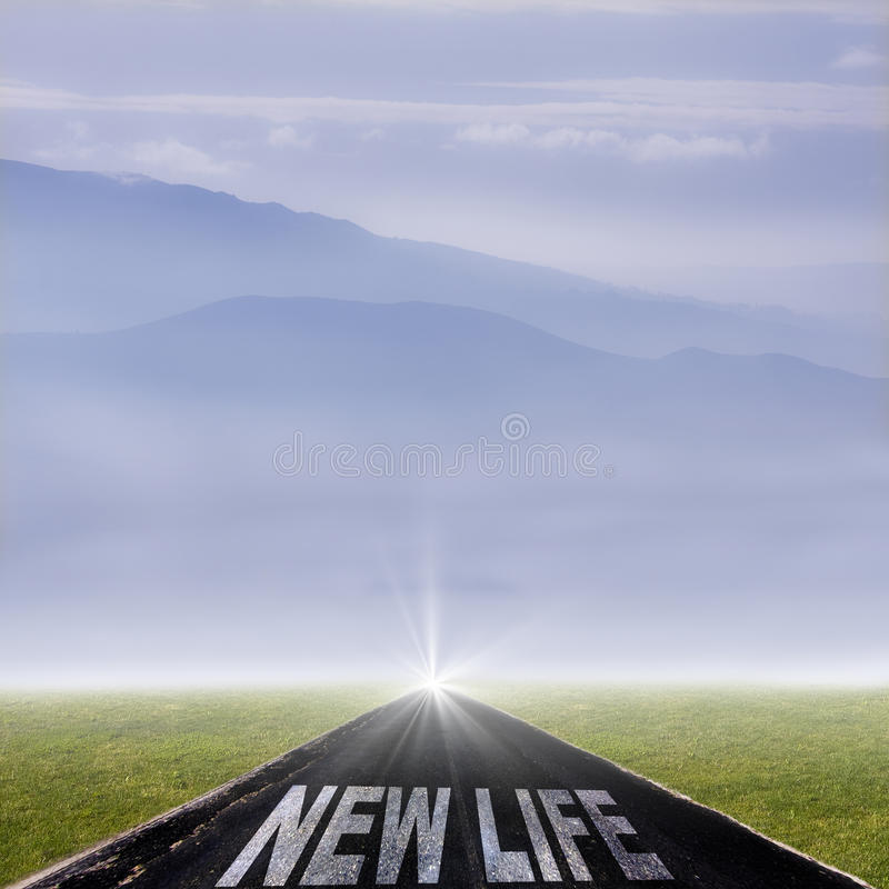 New life. Road with the message of new life royalty free stock images