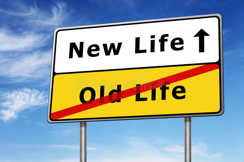 New life road sign concept image. And blue sky stock image