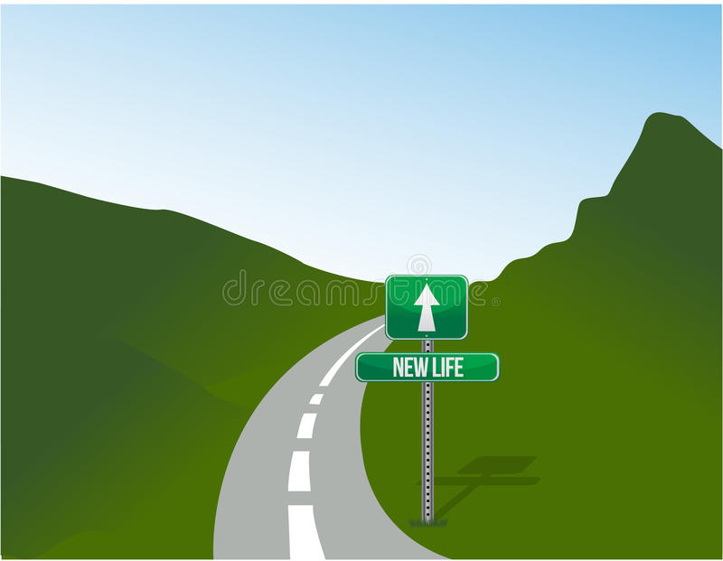New life road sign and landscape. Illustration design royalty free stock images