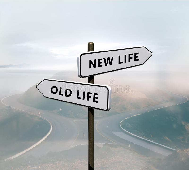 New life vs old life sign. On the road stock photo