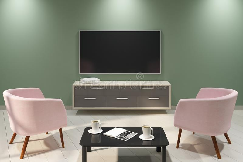 New light interior with empty TV. And furniture. Mock up, 3D Rendering stock illustration