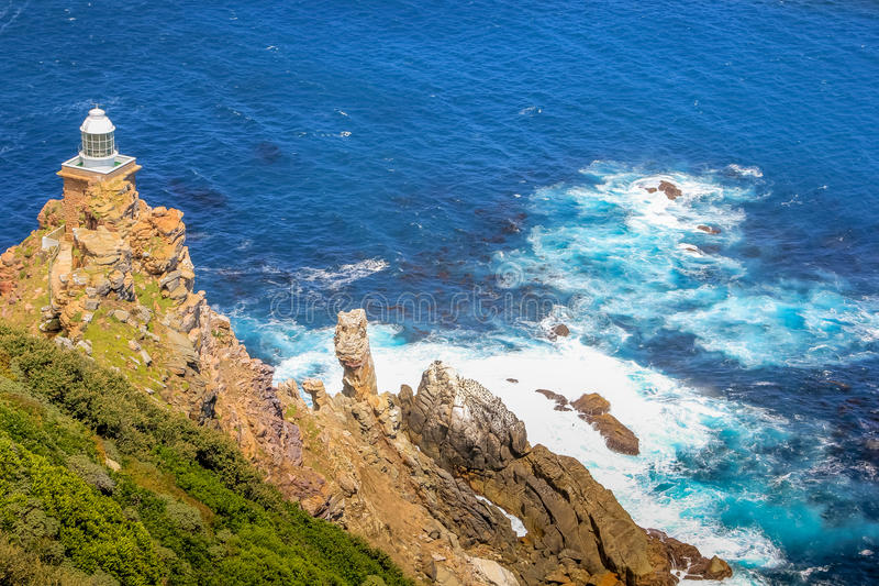 New lighthouse of Cape Point. The new lighthouse of Cape Point in Cape of Good Hope Nature Reserve in Cape Peninsula, Western Cape, South Africa. Cape Point stock image