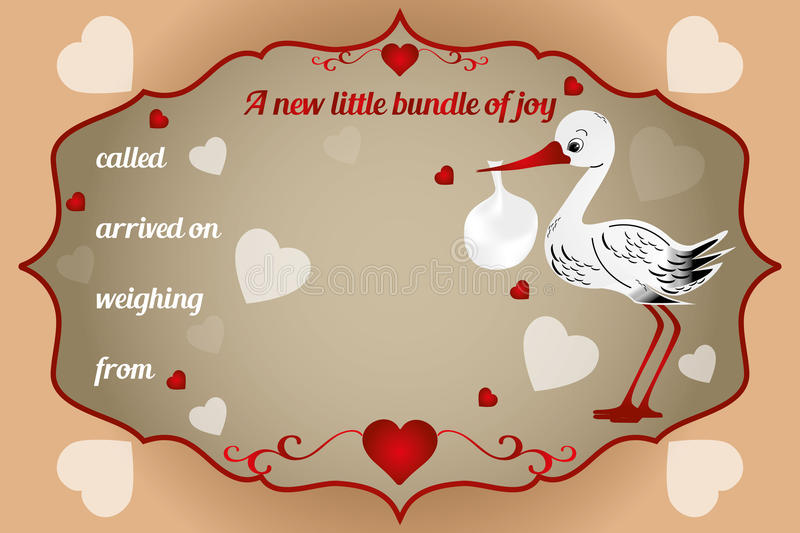 New little bundle of joy card. Vector illustration with baby-bundle and stork stock illustration