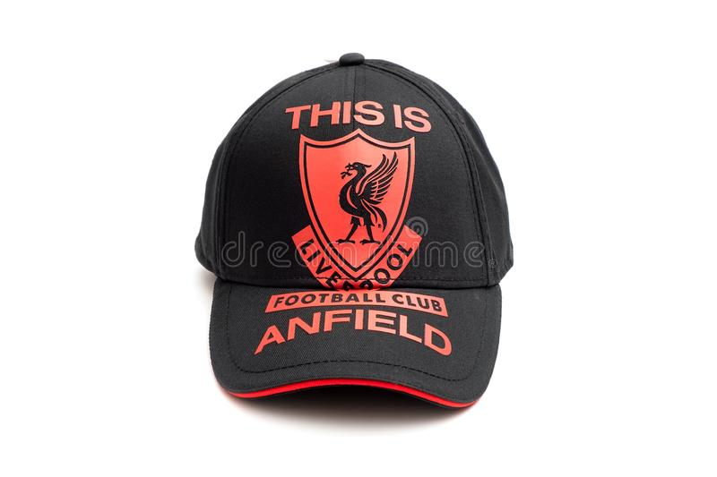 New Liverpool Football Club Black-Red Cap Souvenir on iSolated White Background stock photography
