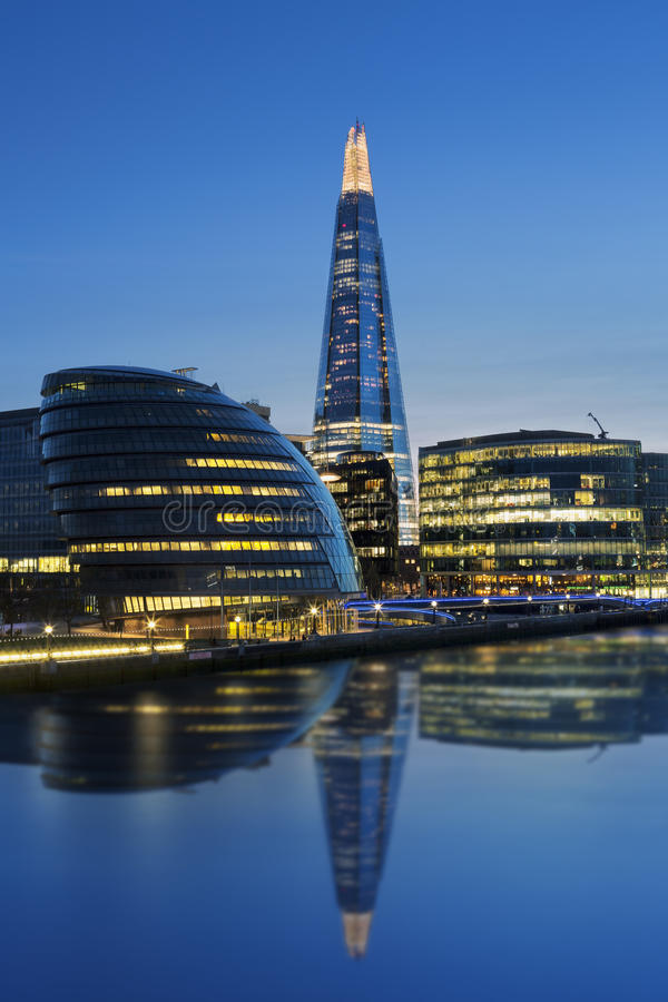 New London city hall by night. UK royalty free stock image