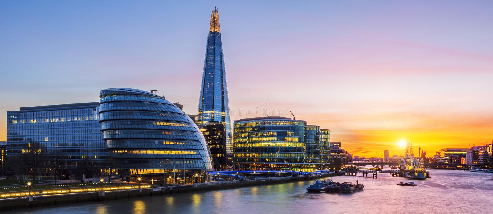 New London city hall at sunset. UK stock images
