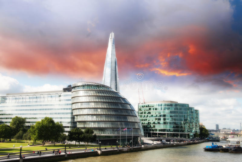 New London city hall with Thames river, panoramic view from Tower Bridge. UK royalty free stock photo