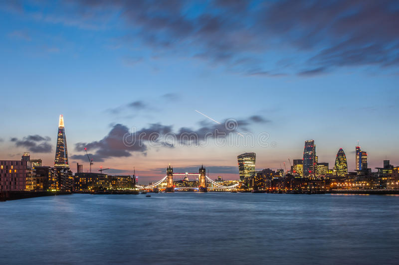 Download The New London Skyline At Night With The Shard, Tower Bridge And The Skyscrapers Of The City Stock Photo - Image: 44146104