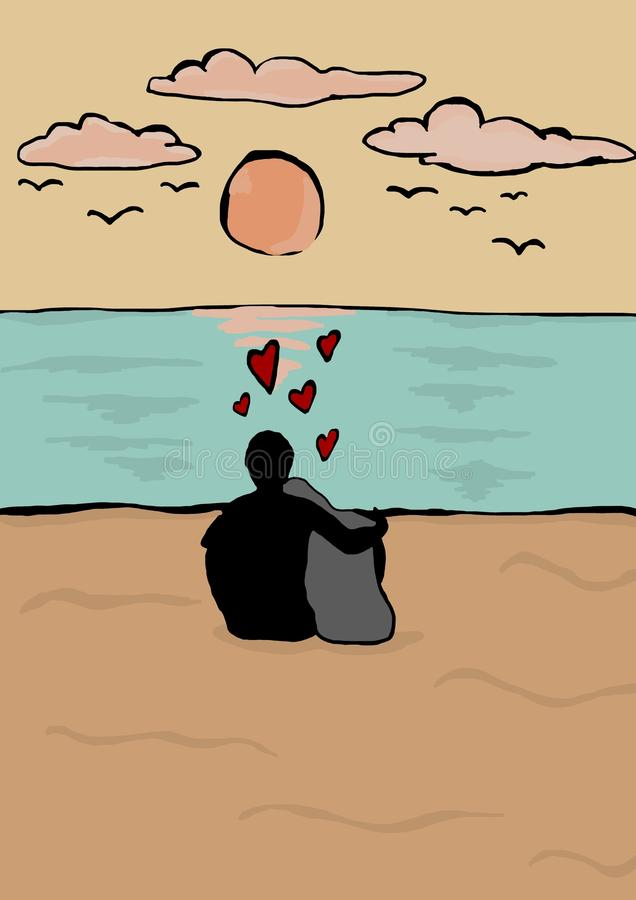 A new love on the horizon royalty free illustration