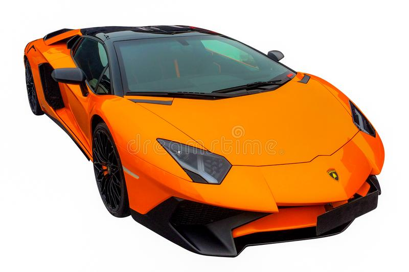 New luxury car. Camera shot on new luxury car with white background royalty free stock photo