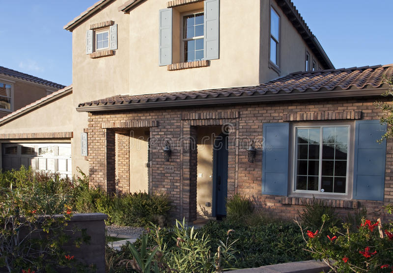 New luxury desert golf course home front entrance stock photo