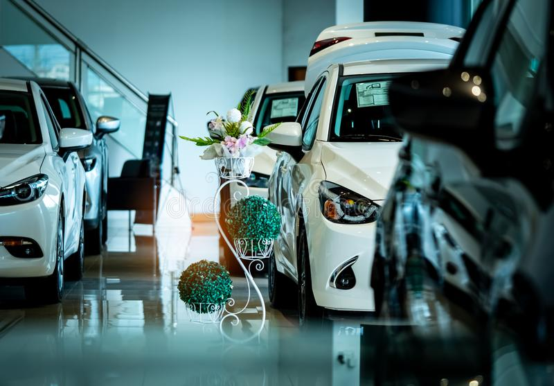 New luxury shiny compact car parked in modern showroom. Car dealership office. Car retail shop. Electric car technology. And business concept. Automobile rental stock image