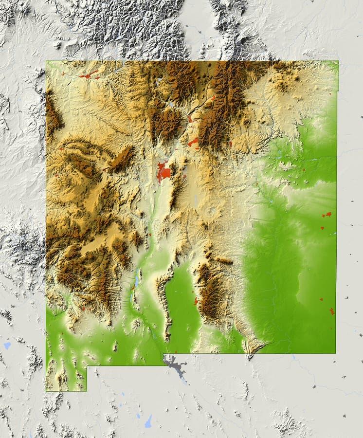 New México, correspondencia de relevación sombreada ilustración del vector
