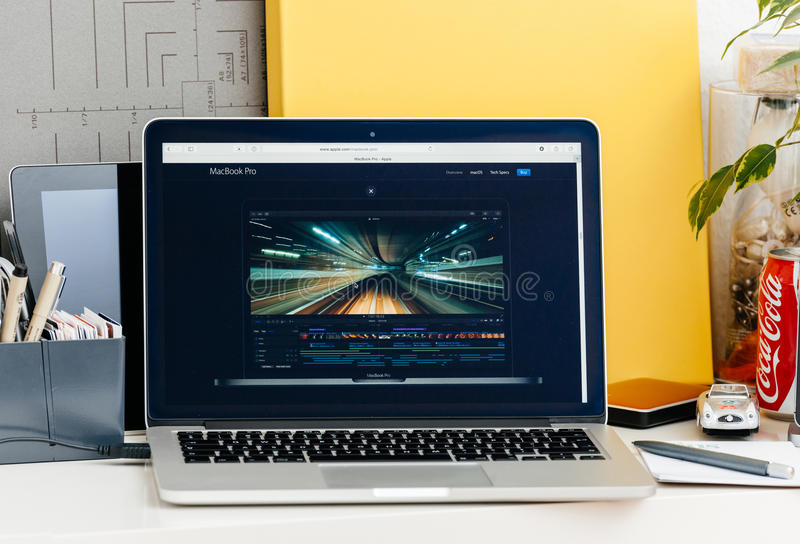 New MacBook Pro retina with touch bar final cut pro stock photography