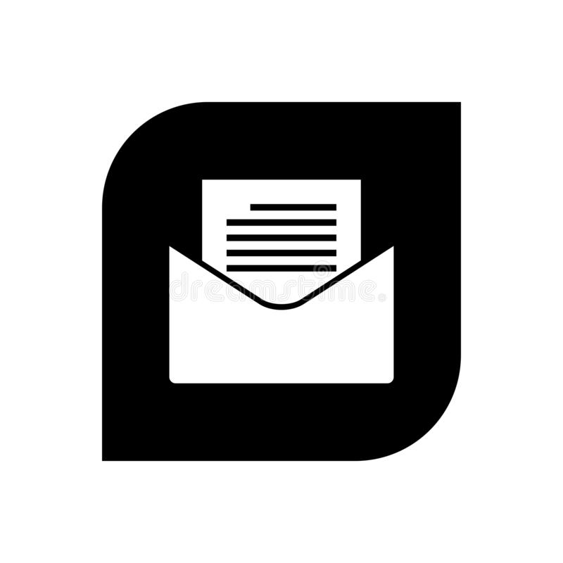 New mail icon. New mail black icon isolated stock illustration