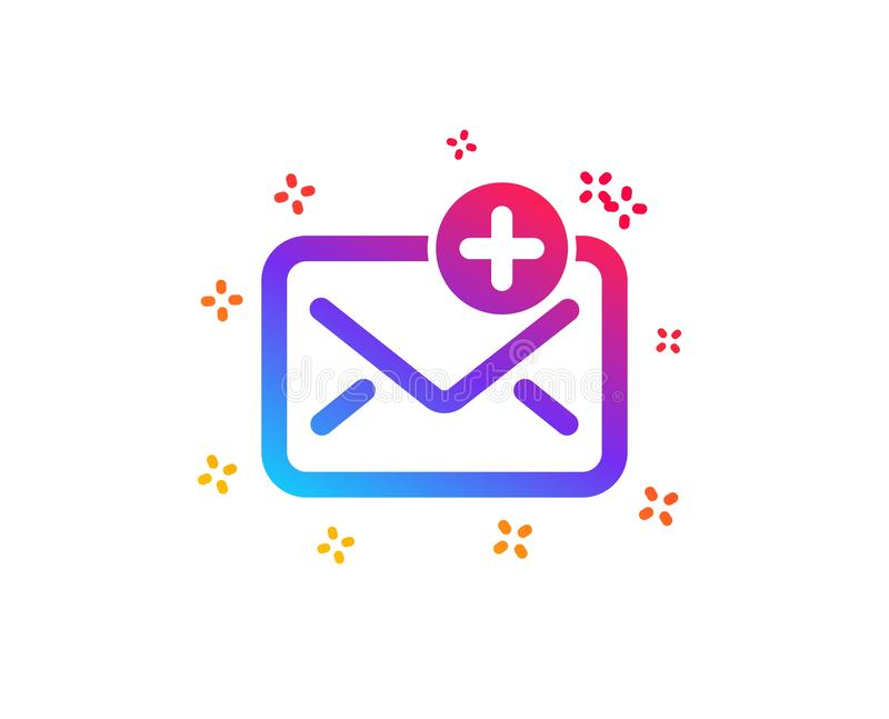 New Mail icon. Add Message correspondence sign. Vector. New Mail icon. Add Message correspondence sign. E-mail symbol. Dynamic shapes. Gradient design new Mail royalty free illustration