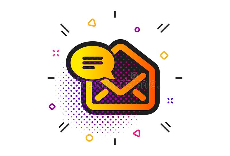 New Mail icon. Message correspondence sign. Vector. Message correspondence sign. Halftone circles pattern. New Mail icon. E-mail symbol. Classic flat new Mail royalty free illustration