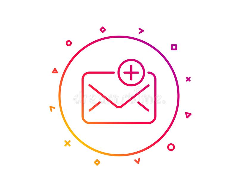 New Mail line icon. Add Message correspondence sign. Vector. New Mail line icon. Add Message correspondence sign. E-mail symbol. Gradient pattern line button stock illustration