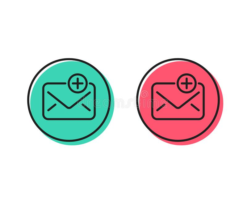 New Mail line icon. Add Message correspondence sign. Vector. New Mail line icon. Add Message correspondence sign. E-mail symbol. Positive and negative circle vector illustration