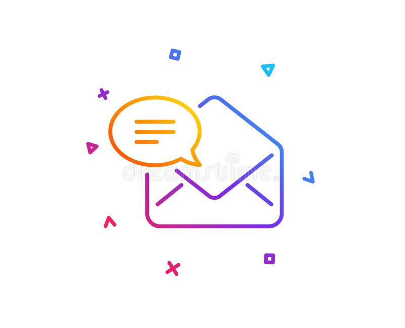 New Mail line icon. Message correspondence sign. Vector. New Mail line icon. Message correspondence sign. E-mail symbol. Gradient line button. New Mail icon vector illustration