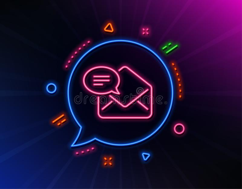 New Mail line icon. Message correspondence sign. Vector. New Mail line icon. Neon laser lights. Message correspondence sign. E-mail symbol. Glow laser speech vector illustration