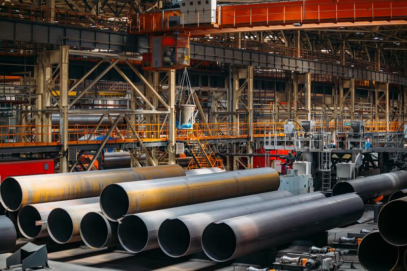 New manufactured steel pipes. For gas pipeline construction royalty free stock images