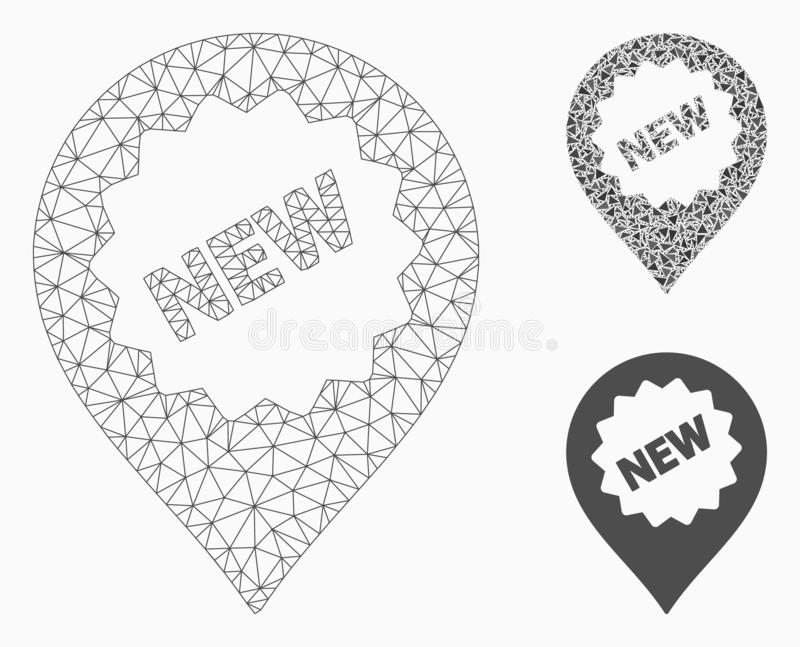 New Marker Vector Mesh Carcass Model and Triangle Mosaic Icon. Mesh new marker model with triangle mosaic icon. Wire carcass triangular mesh of new marker royalty free illustration