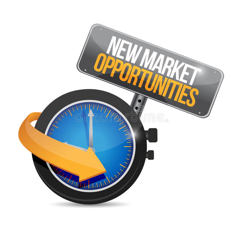 New market opportunities watch sign concept stock illustration