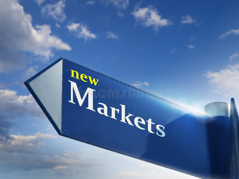 New markets. Road sing for business and investing concepts stock photos