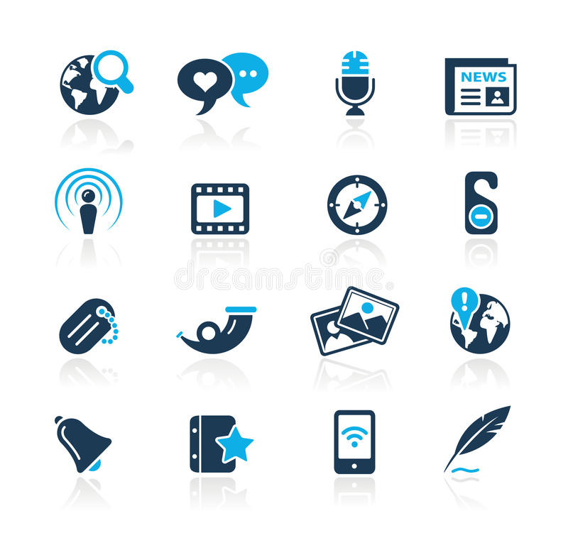 New Media / Azure Series. Set of decorative blue icons isolated on white background for your web site or presentations. Vector file in EPS 8 file format