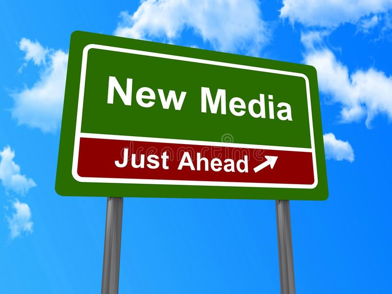 New media road sign. New media just ahead road sign with blue sky and cloudscape background stock image
