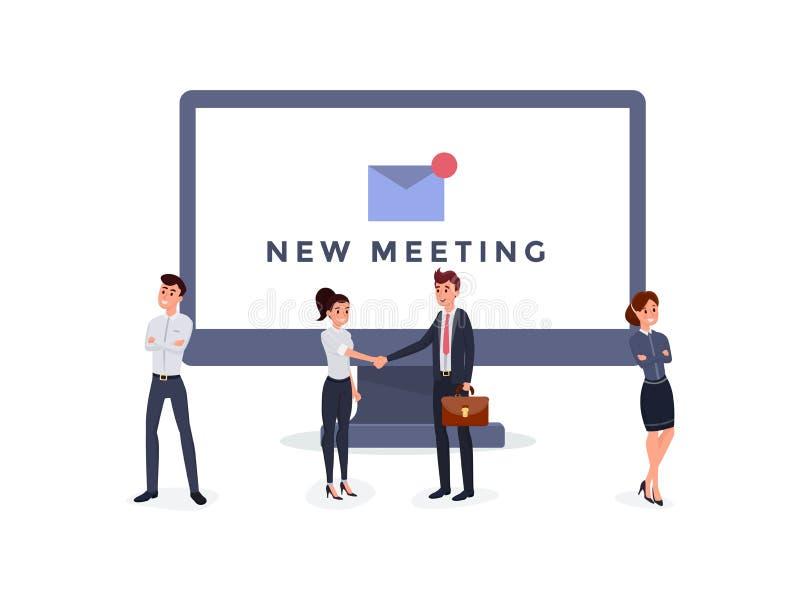 New meeting notification flat illustration vector illustration