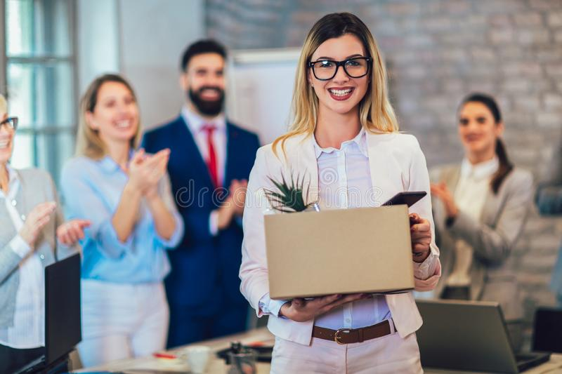 New member of team, newcomer, applauding to female employee, congratulating office worker with promotion royalty free stock photos