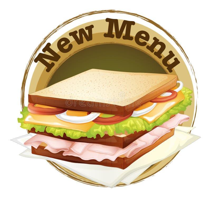 A new menu label. Illustration of a new menu label on a white background stock illustration