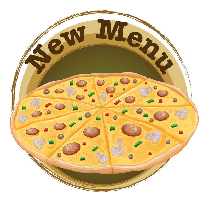 A new menu label with a pizza. Illustration of a new menu label with a pizza on a white background vector illustration