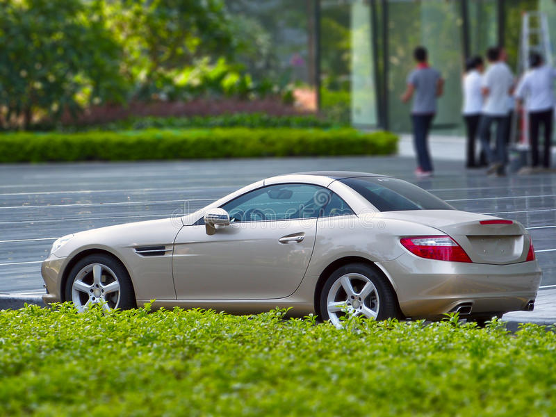 The new mercedes-benz slk. A brand new mercedes-benz slk roadster in guangzhou china stock photography