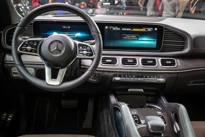 New 2020 Mercedes GLE 300d 4MATIC car interior showcased at the Paris Motor Show. PARIS - OCT 3, 2018: New 2020 Mercedes GLE 300d 4MATIC car interior showcased royalty free stock photos